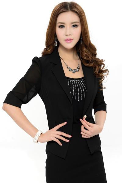 เสื้อสูทแฟชั่น เสื้อสูททำงาน เสื้อสูทสำหรับผู้หญิง พร้อมส่ง สีดำ ผ้าโพลีเอสเตอร์ คอตตอน + ผ้าชีฟอง อย่างดี ใส่สบาย