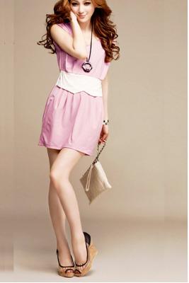 Hengsong Striped Sleeveless Slim Short Dresses For Women Trendy Fashion Style Online (Black/White)