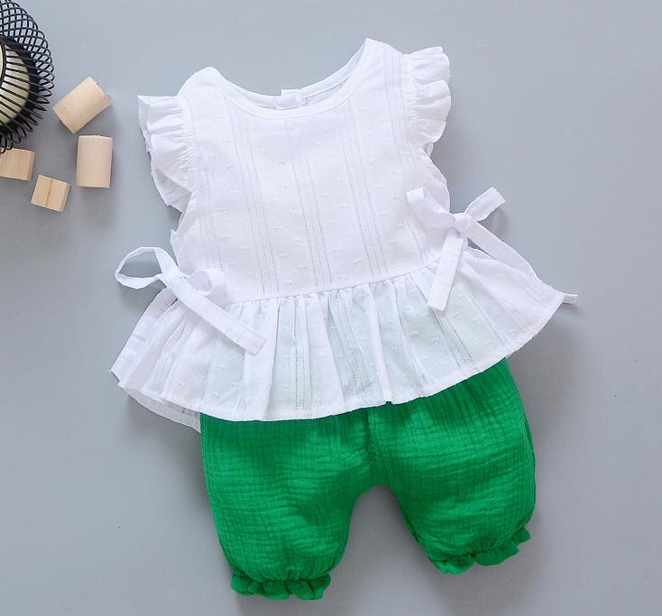 **ชุดเซ็ตกางเกงโจงกระเบนสีเขียวเสื้อแขนกุดขาว | เขียว | M-L-XL-2XL | 4ชุด/แพ๊ค | เฉลี่ย 170/ชุด
