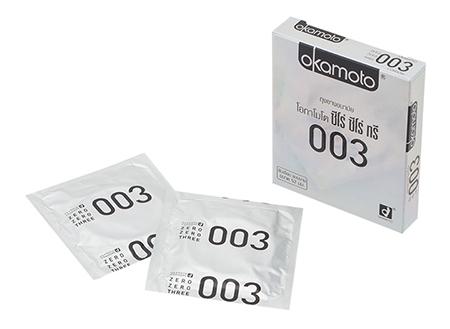 (1 โหล) Okamoto 003 (ซีโร่ ซีโร่ ทรี) ถุงยางอนามัยยอดนิยมจากญี่ปุ่น