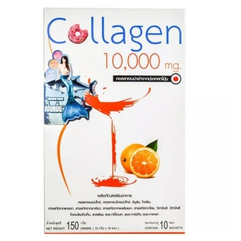 Donut Collagen 10000 mg. Orange Flavor โดนัท คอลลาเจน 10000 mg กลิ่นส้ม บรรจุ 10 ซอง บำรุงผิวพรรณที่แห้งกร้าน กระชับผิว ดูอ่อนกว่าวัย