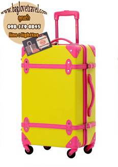 กระเป๋าเดินทางวินเทจ รุ่น colorful เหลืองคาดชมพู ขนาด 18 นิ้ว