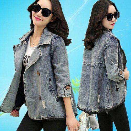 FW6008014 เสื้อแจ็กเก็ตยีนส์ผู้หญิงเกาหลีคอปกสูทตัวสั้นแขนยาว แฟชั่นเกาหลี (พรีออเดอร์)