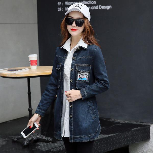 FW6003002 เสื้อแจ็กเก็ตยีนส์ผู้หญิงเกาหลี แขนยาว กันลมสบายๆ (พรีออเดอร์) รอ 3 อาทิตย์หลังโอน