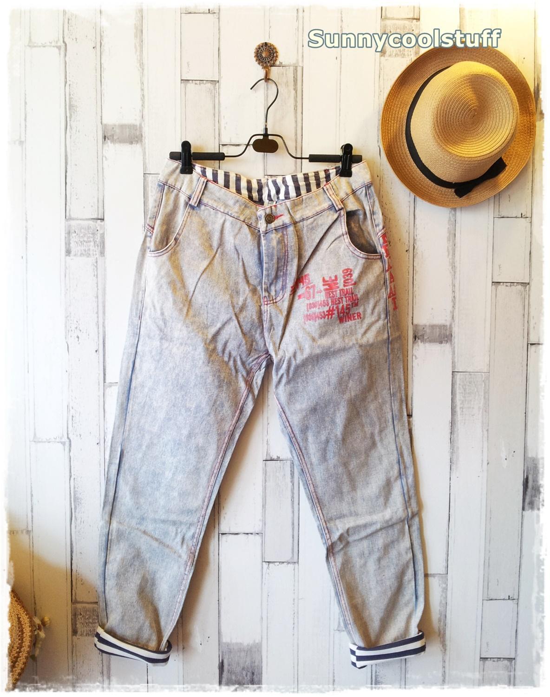 ฺButton jeans กางเกงยีนส์ขายาว สีฟ้าหมอก แต่งผ้ายืดริ้วดำเก๋