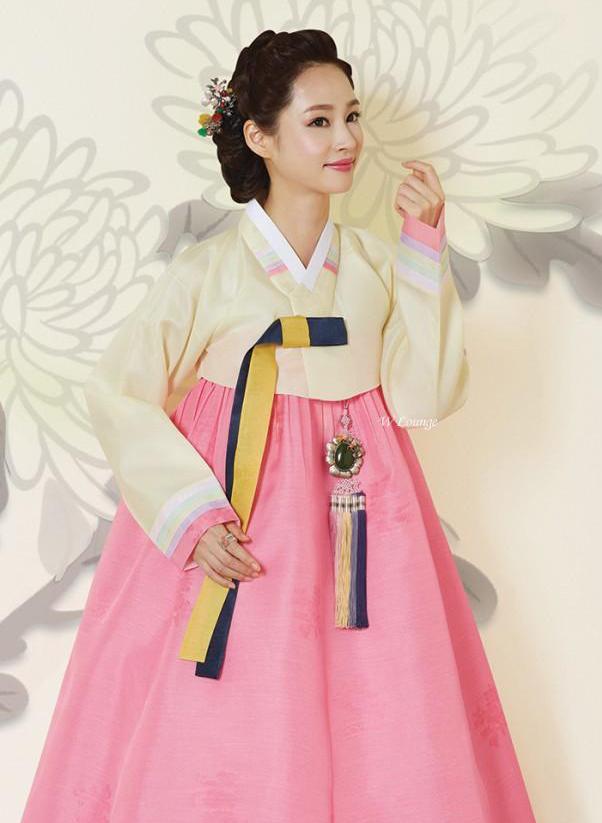 Hanbok เกรด A+++ ผ้าไหมเกาหลี สีพาสเทลหวานๆ อก 40