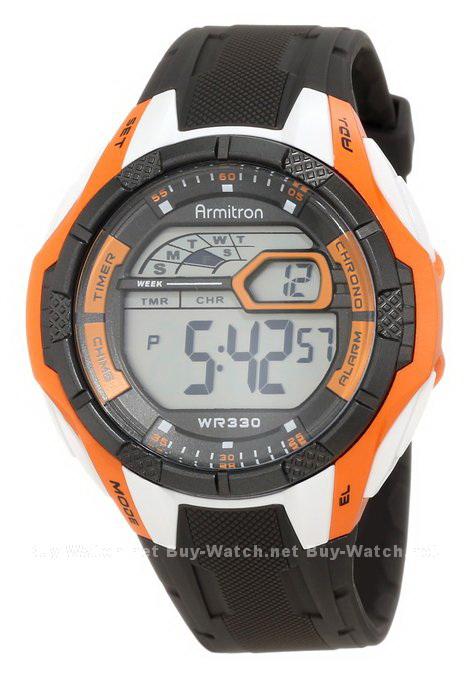 นาฬิกาข้อมือผู้ชายแนวสปอร์ตของแท้ Armitron Sport 408276ORG Digital ดิจิตอล สายข้อมือยาง