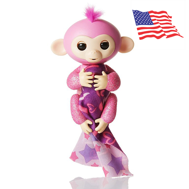 DA007 (ของแท้) wowwee Glitter fingerling ตุ๊กตาลิง มีชีวิต -ชมพู