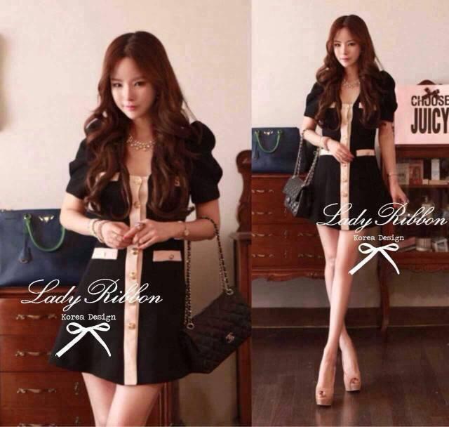 DR-LR-259 Lady Serene, Little Black Dress Gold Button