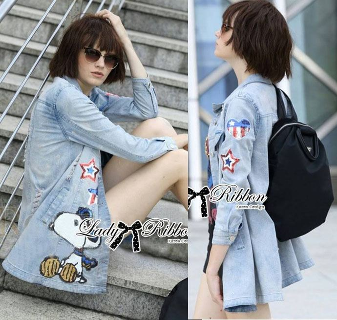 DR-LR-260 Lady Amy Glittering Sequin Snoopy Denim Shirt Mini Dres