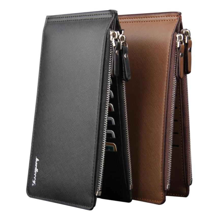 กระเป๋าสตางค์หนังหลายซิปสำหรับนักเดินทางธุรกิจ สีดำ (รหัส 2l9eul7)