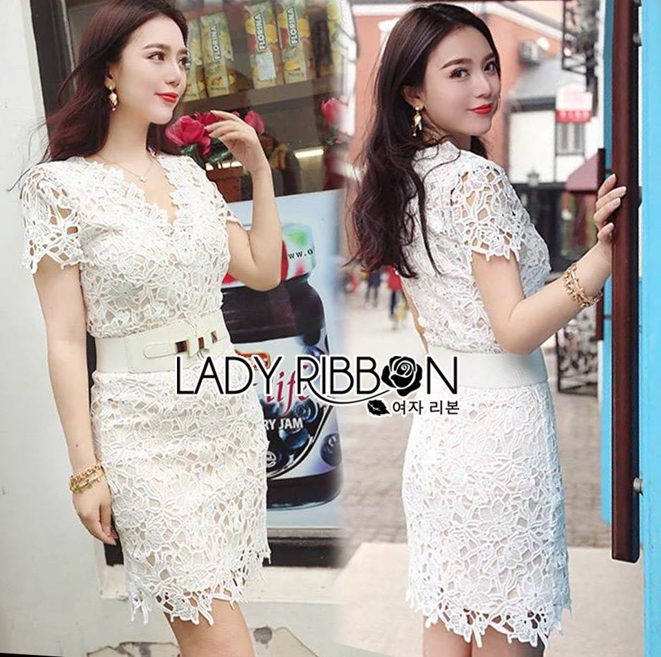 Lady Joanne Classy Elegant White Lace Dress with White Leather Belt L260-7907