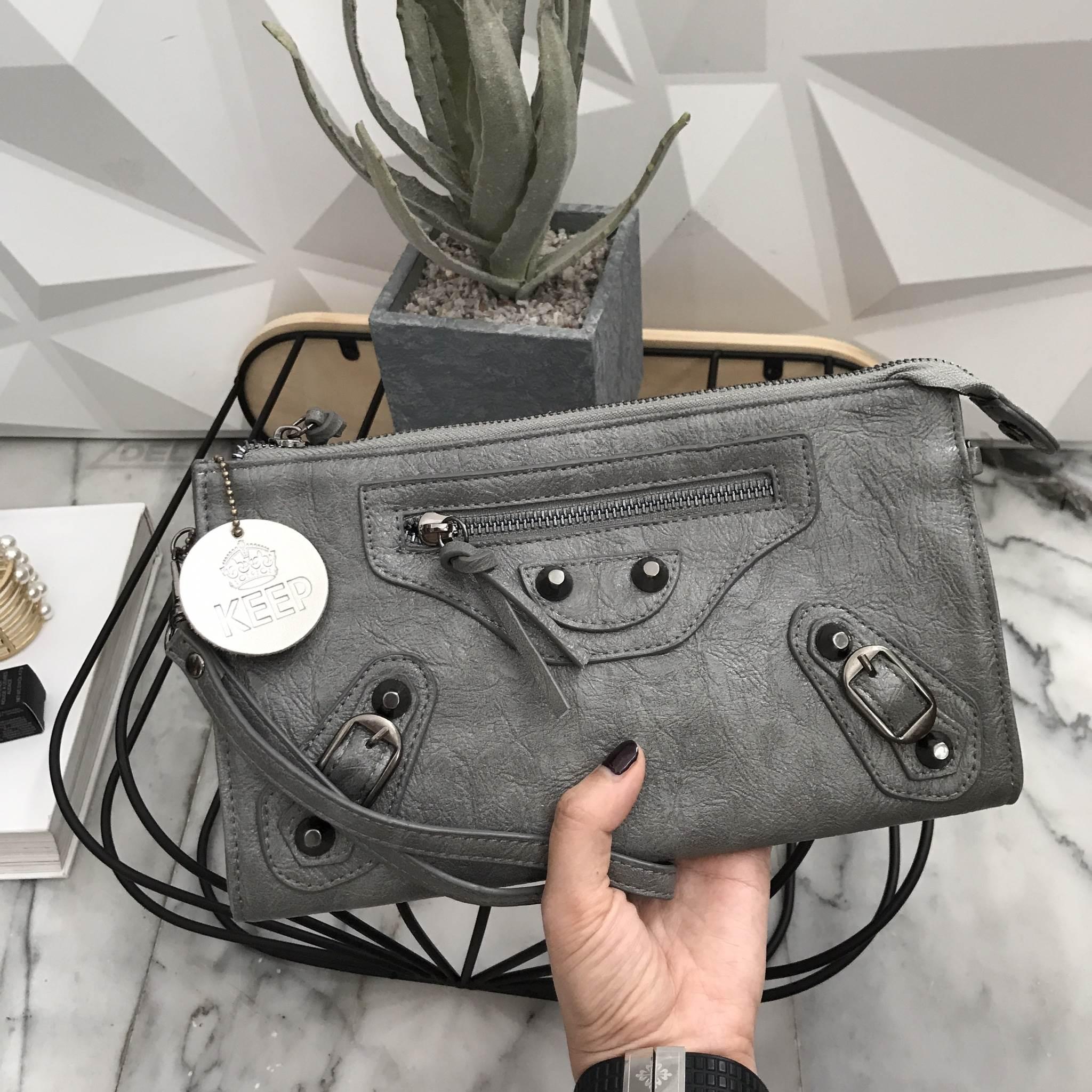 KEEP Milan shoulder & clutch bag สีเทา