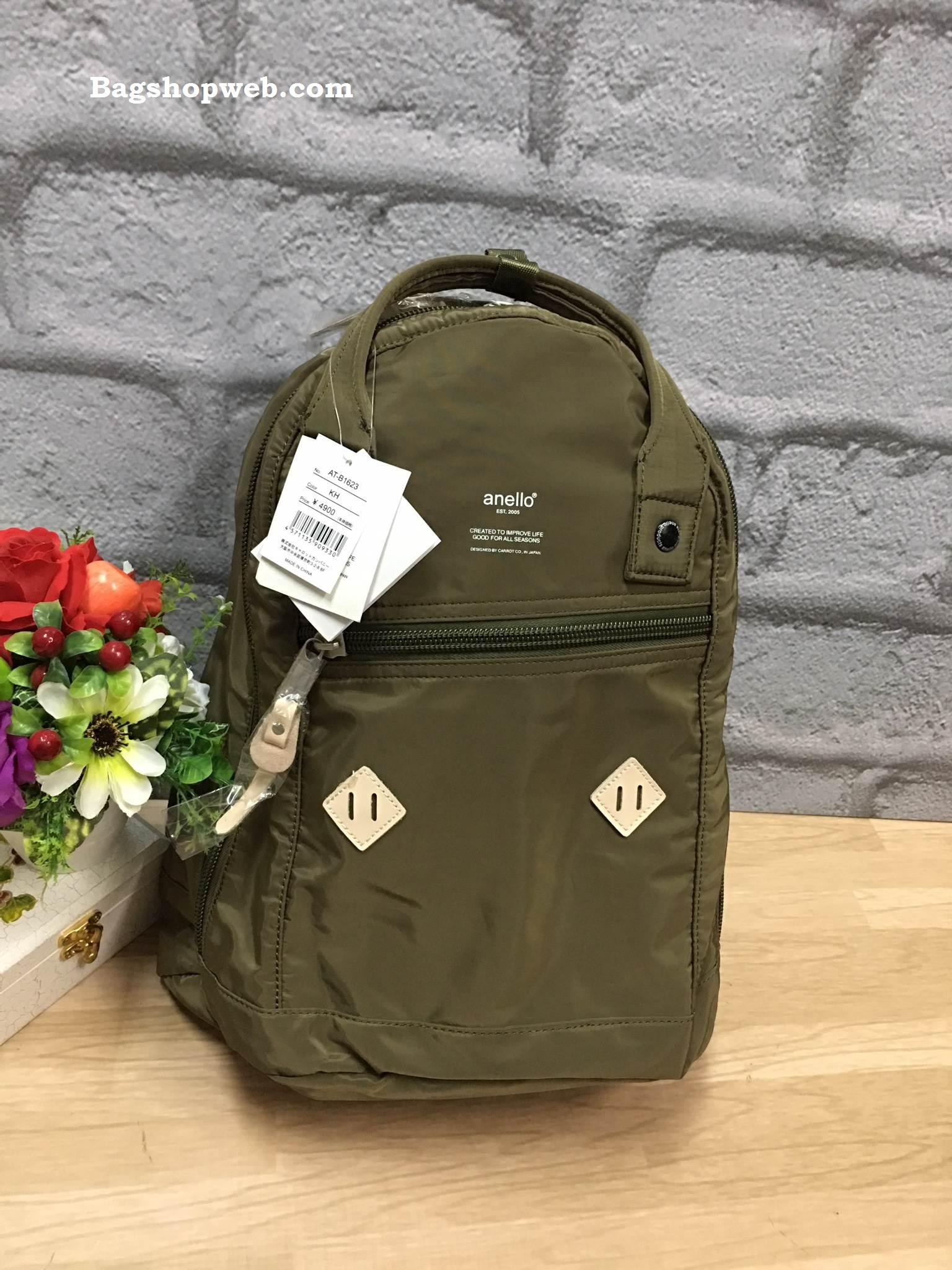 กระเป๋า Anello rucksack nylon day pack back 2017 สี Khakhi ราคา 1,290 บาท Free Ems