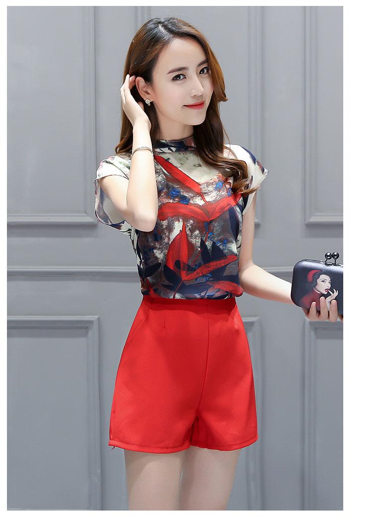 ชุดเซ็ท2ชิ้นเข้าชุดโทนสีแดง เสื้อแขนกุดพิมพ์ลายสวยๆ