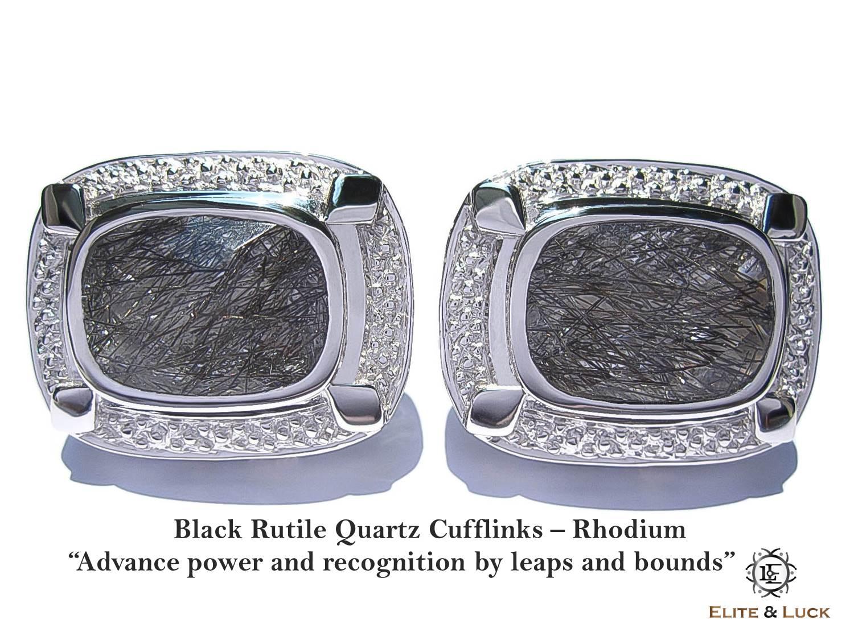 "Black Rutile Quartz Sterling Silver Cufflinks ""Royal Quality"" สี Rhodium รุ่น Luxury"