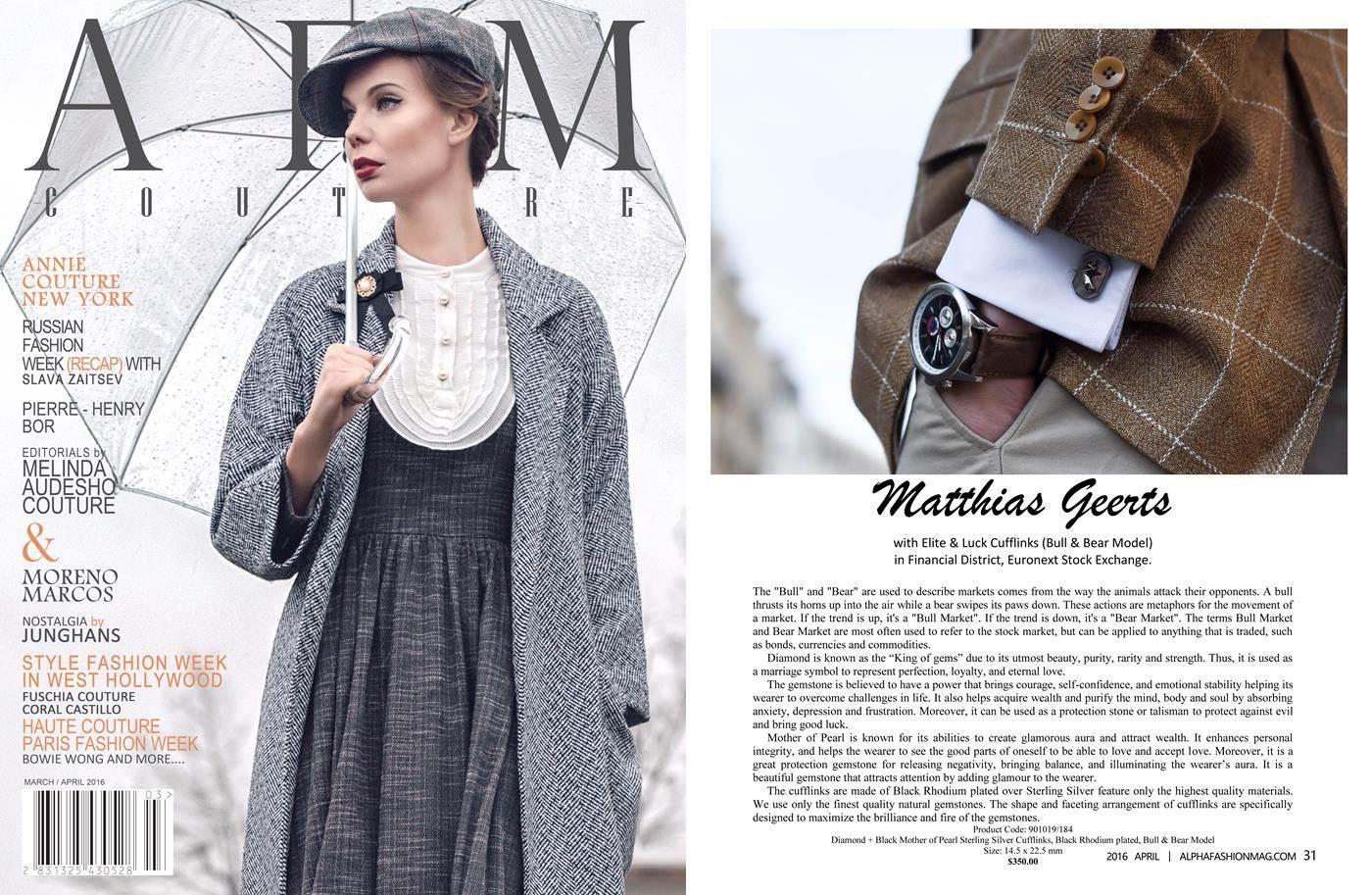 Elite & Luck Cufflinks ในนิตยสาร Alpha Fashion Magazine (Couture) ที่ New York ฉบับเดือนเมษายน 2016.