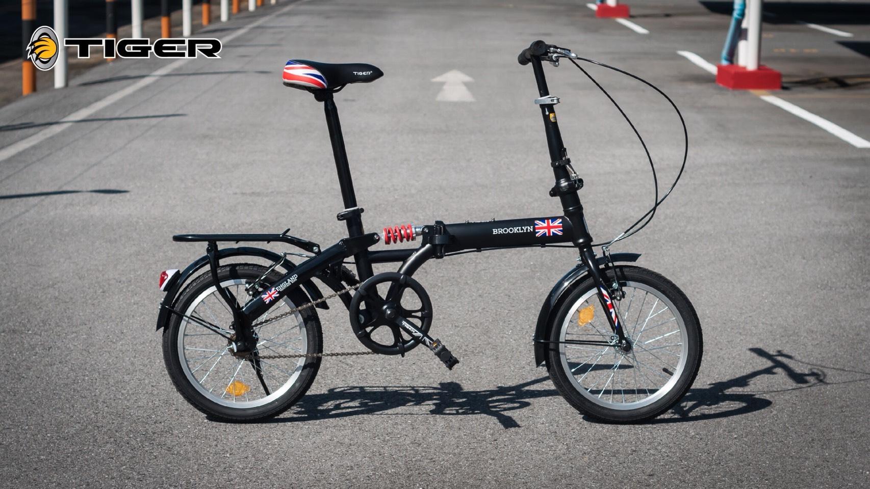 จักรยานพับ ล้อ 16 นิ้ว Tiger รุ่น Brooklyn เฟรมเหล็ก สีดำ โช๊คหลัง Single Speed