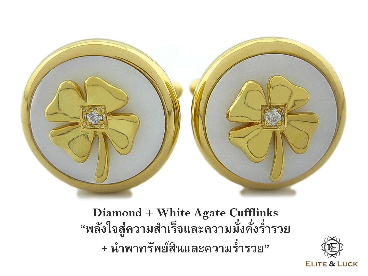 Diamond + White Agate Sterling Silver Cufflinks สี 18K Yellow Gold รุ่น Lucky