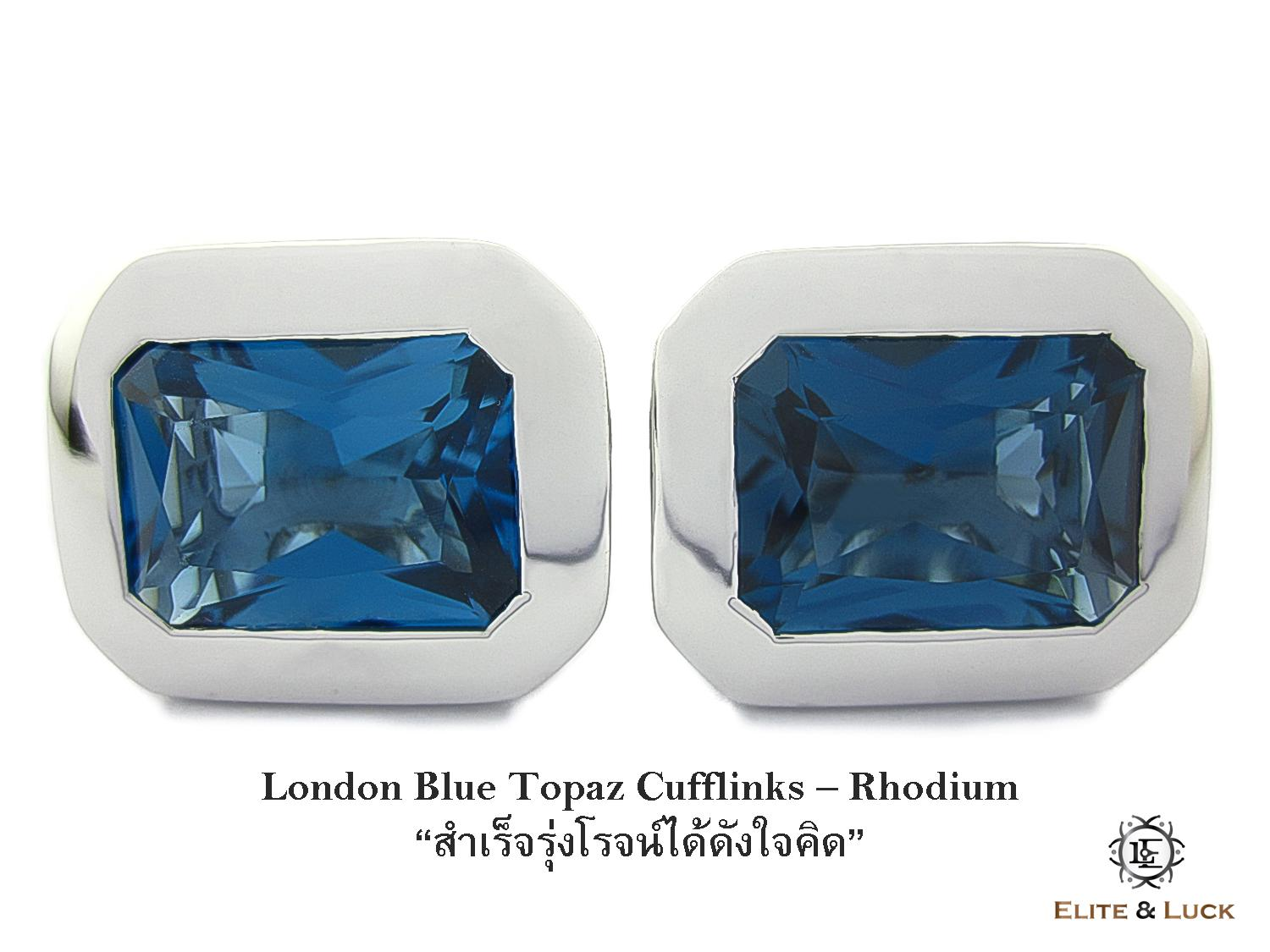 London Blue Topaz Sterling Silver Cufflinks สี Rhodium รุ่น Classic