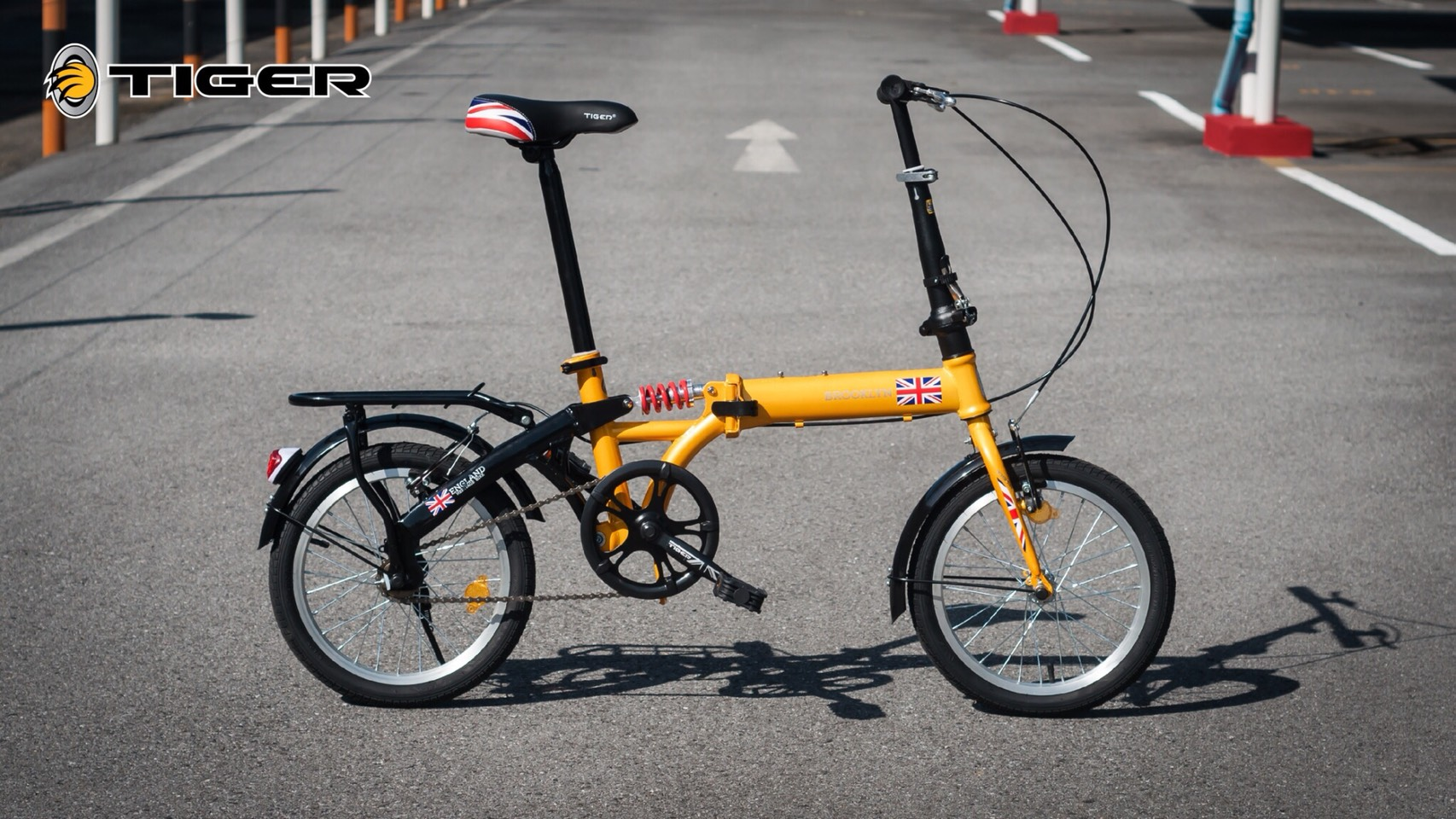 จักรยานพับ ล้อ 16 นิ้ว Tiger รุ่น Brooklyn เฟรมเหล็ก สีเหลือง โช๊คหลัง Single Speed