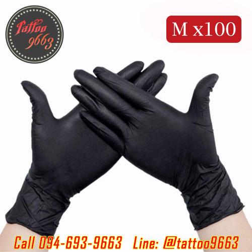 ถุงมือยางอย่างหนาสำหรับสักไซส์ M ถุงมือไนไตร100ชิ้น ถุงมือยางไนไตร Professional Nitrile Tattoo Artists Gloves (Size M - 100PCS)