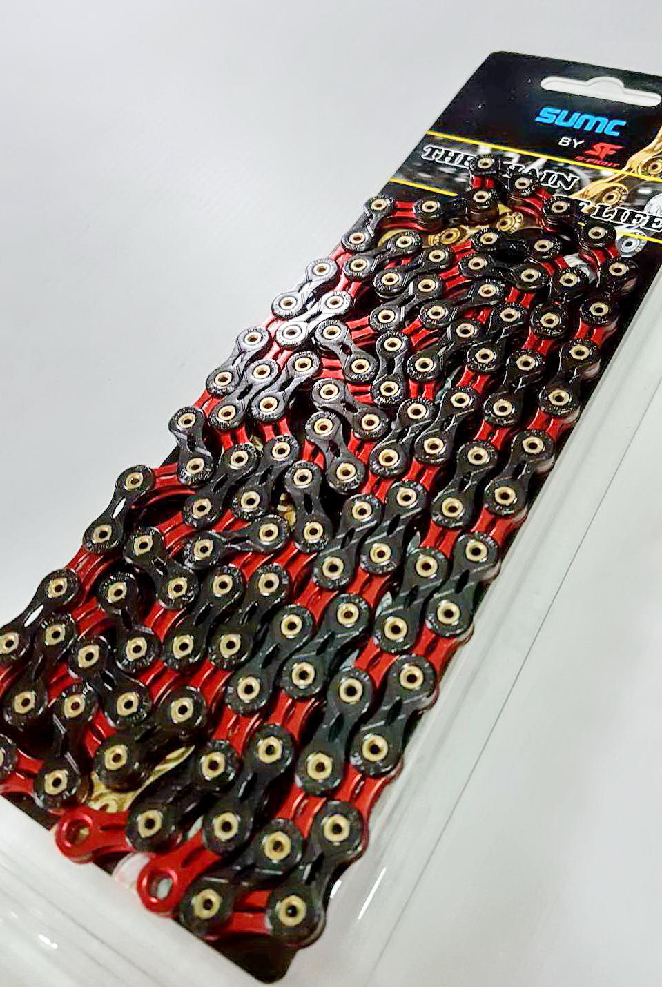 โซ่ดำแดง ชุบไททาเนียม เซาะร่อง S-Fight รุ่น Red Black 11 Speed