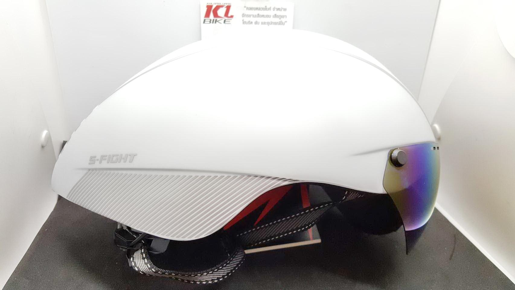 หมวกปั่นทรงแอโร่ S-Fight รุ่น GH06 สีขาว มีแว่นแม่เหล็ก สำหรับรอบศรีษะ 55-61 ซม.