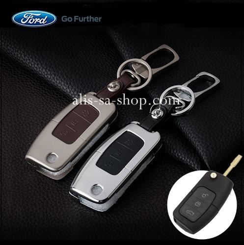 กรอบ-เคส ใส่กุญแจรีโมทรถยนต์ รุ่นโคเมี่ยม Ford Fiesta,Focus พับข้าง 3 ปุ่ม