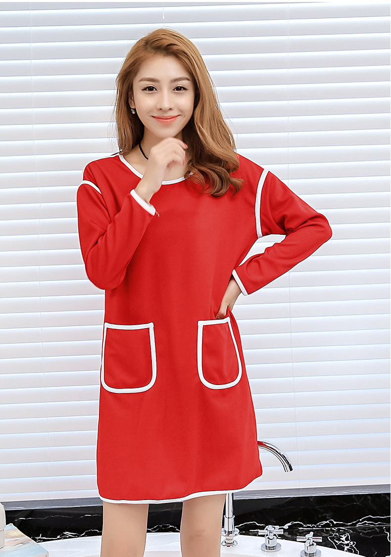 ชุดเดรสสั้นน่ารักๆ สีแดง แขนยาว ทรงปล่อย แฟชั่นน่ารักๆ สไตล์เกาหลี