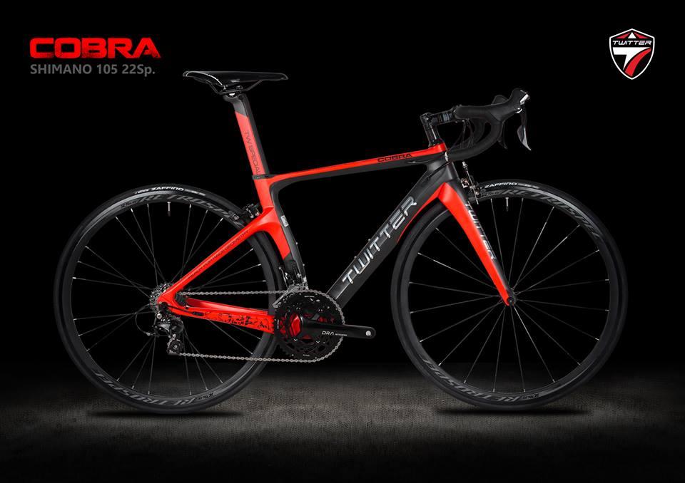 จักรยานเสือหมอบ Twitter รุ่น Cobra Red 2018 เฟรมคาร์บอน Size 45.5 ชุดขับ Shimano 105 x 22 Speed