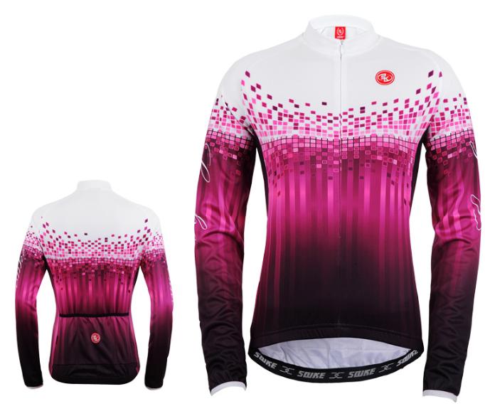 เสื้อปั่นจักรยานแขนยาวผู้หญิง SOUKE สีม่วง : CPL5107