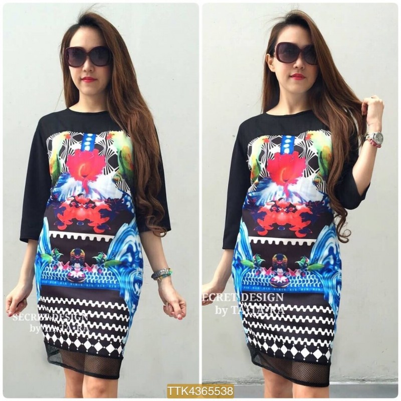 "TTR538**สีดำ**รอบอก42"" GIVENCHY CHIC GRAPHIC DRESS WITH CHIFFON"