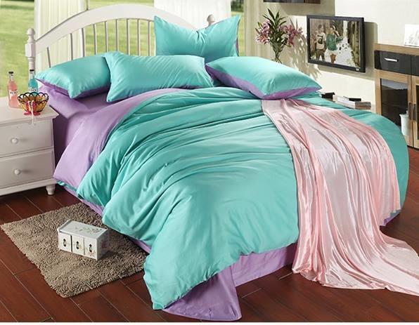 ผ้าปูที่นอน tencel สีฟ้า-ม่วง สีพื้น