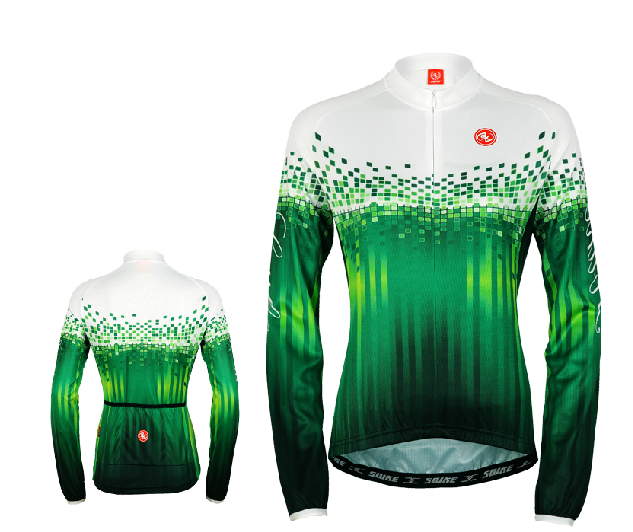 เสื้อปั่นจักรยานแขนยาวผู้หญิง SOUKE สีเขียว : CPL5106