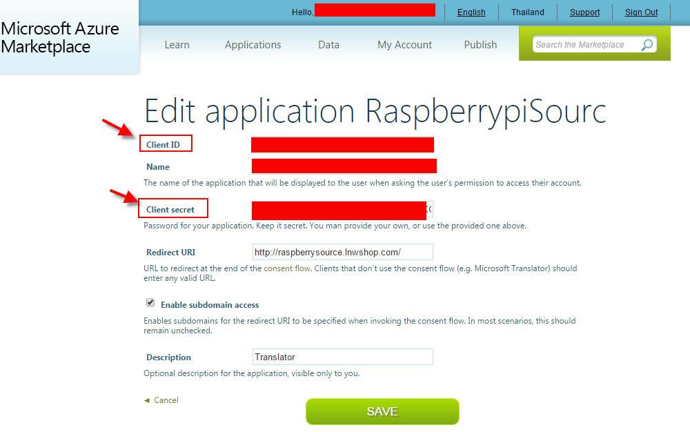 Sign up Microsoft Translator secret