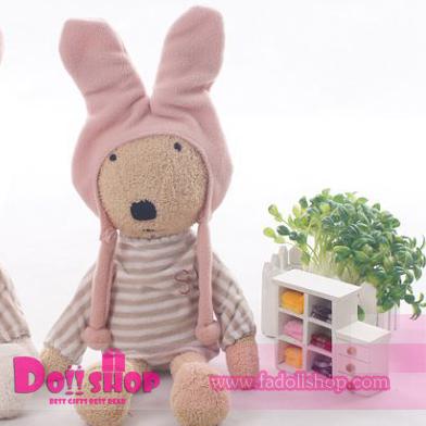 ตุ๊กตากระต่ายสีน้ำตาล ใส่หมวก 60 ซม