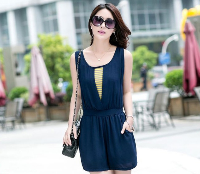 [พรีออเดอร์] ชุดเดรสกางเกงขาสั้นผู้หญิงแฟชั่นยุโรปใหม่ แขนกุด แบบเก๋ เท่ห์ - [Preorder] New European Fashion Sleeveless Pants Dress