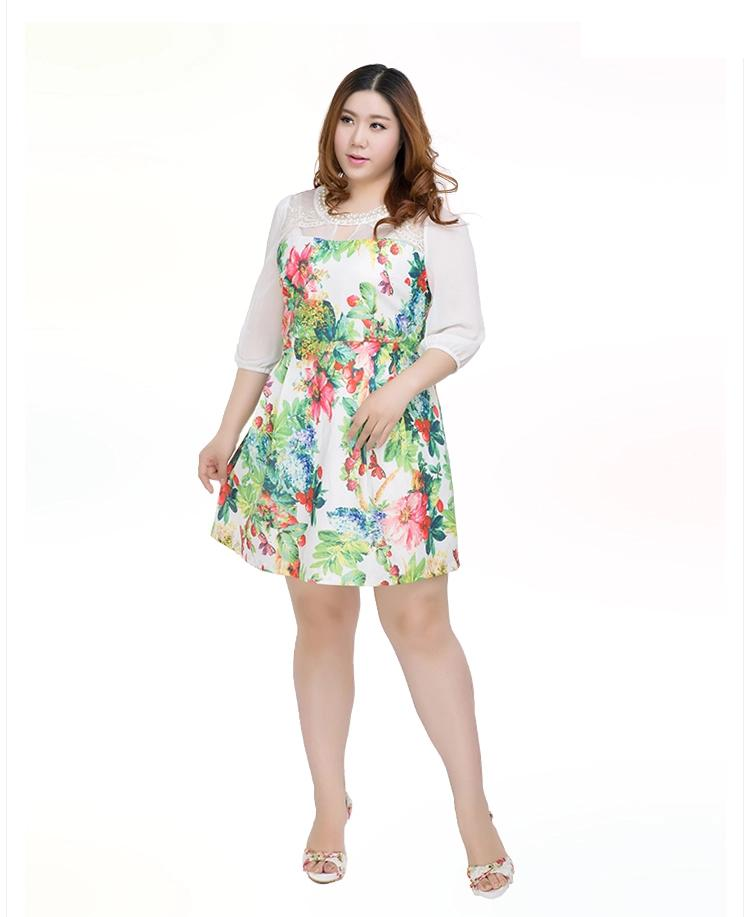 **พรีออเดอร์** ชุดเดรสสั้นแฟชั่นเกาหลีใหม่ ลายดอกไม้ น่ารัก แขนยาว เหมาะไปงานสุดหรู สำหรับผู้หญิงไซส์ใหญ่ /**Preorder** New Korean Fashion Sweet Floral Pattern Short Dress for Large Size Woman