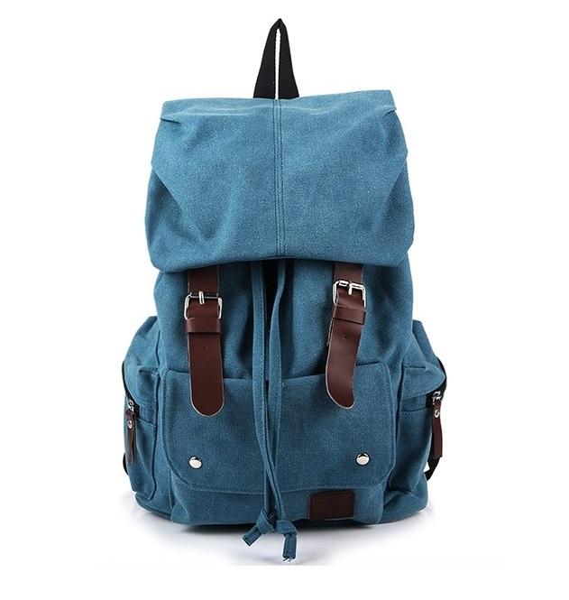 กระเป๋าเป้ Canvas Daypack สีน้ำเงิน