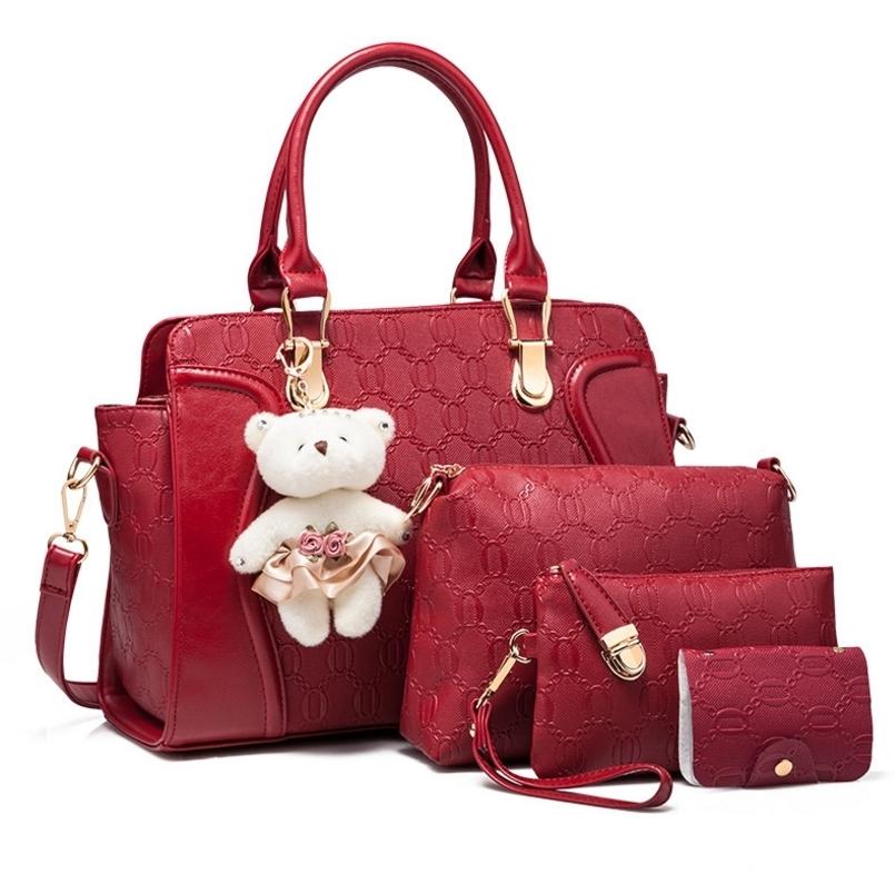 กระเป๋าแฟชั่น ชุดเซ็ต 4 ใบ ทรงสวย ดีไซน์หรู หนัง PU อย่างดีพิมพ์ลาย พร้อมพวงกุญแจหมีน่ารัก สวยสุดคุ้ม 7 สี แดง ครีม เทามุก ชมพูมุก ชมพูเข้ม น้ำเงิน ม่วง