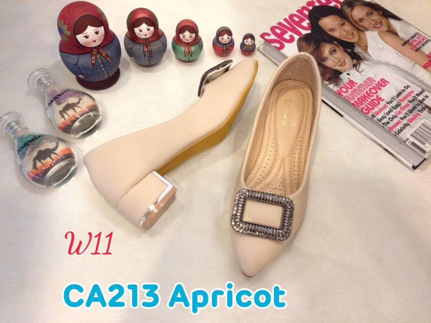 รองเท้าคัทชู ส้นเตี้ย แต่งอะไหล่เพชรสวยหรู หนังนิ่ม ทรงสวย ส้นสูงประมาณ 2 นิ้ว ใส่สบาย แมทสวยได้ทุกชุด (CA213)