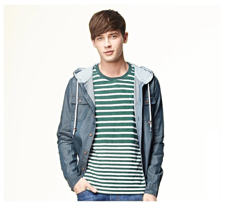 พรีออเดอร์ เสื้อแจ๊คเก็ตยีนส์พร้อมฮู้ด แฟชั่นอเมริกา และยุโรปสไตล์ สำหรับผู้ชาย แขนยาว เก๋ เท่ห์ - Preorder Men American and European Hitz Style Slim Long-sleeved Denim Jacket with Hood