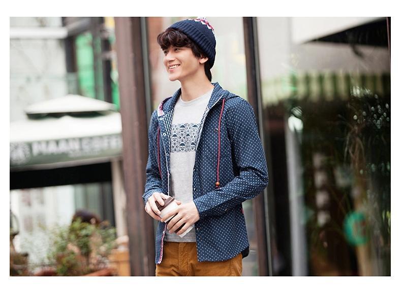 พรีออเดอร์ เสื้อกันหนาวพร้อมฮูด แฟชั่นอเมริกา และยุโรปสไตล์ สำหรับผู้ชาย แขนยาว เก๋ เท่ห์ - Preorder Men American and European Hitz Style Slim Long-sleeved Jacket with Hood