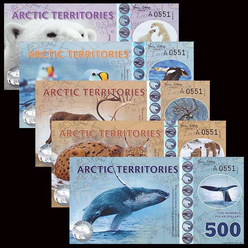 ธนบัตรภูมิภาคอาร์กติค Arctic Territories SET 5 PCS, 25-500 Dollars, 2016/2017,Matching , Polymer, UNC