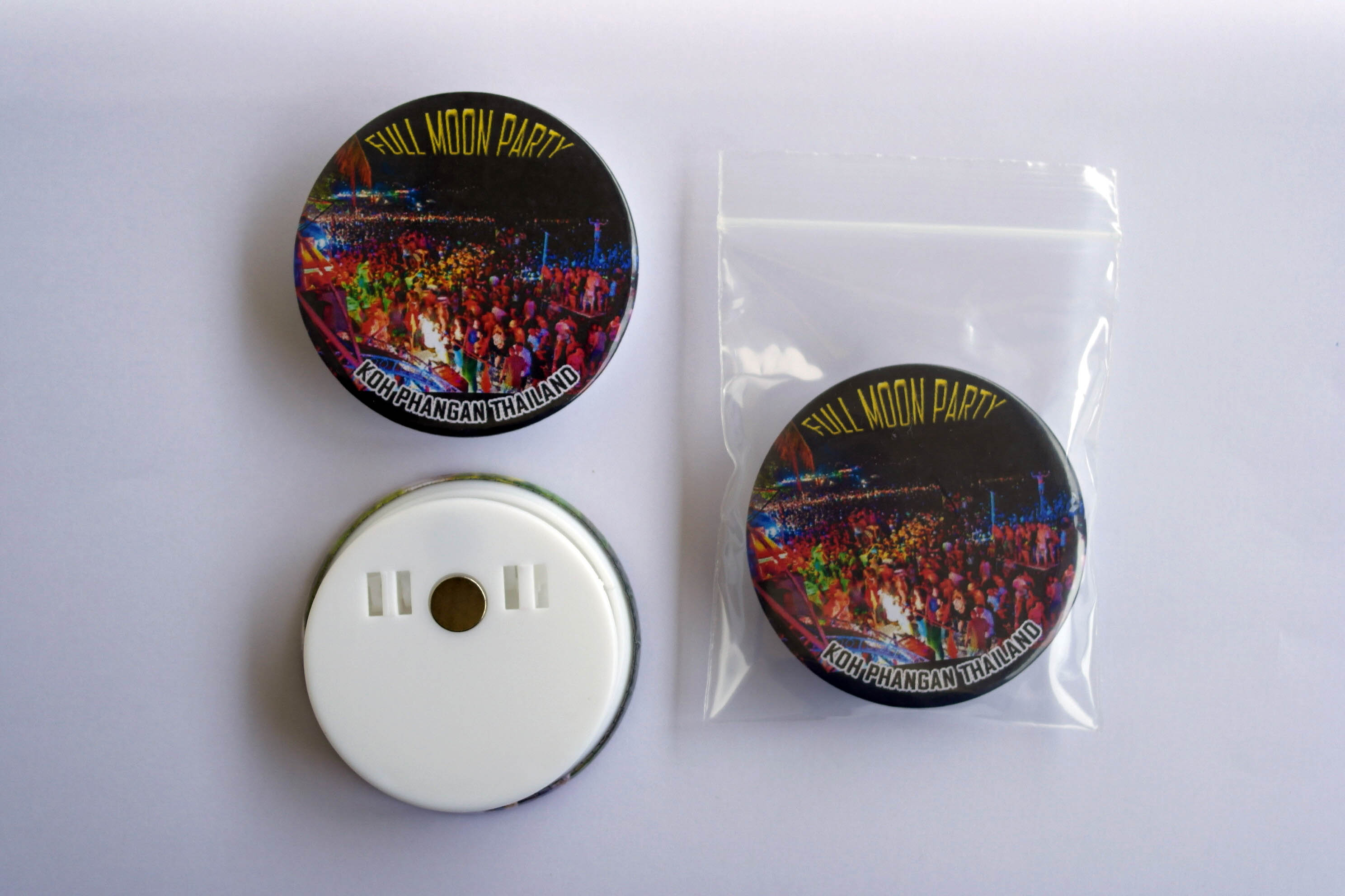 Koh Phangan Full Moon Party 58 mm Fridge Magnet with paper clip