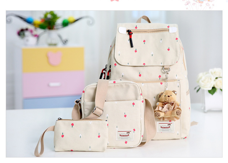 Girl's youth style backpack เซ็ต 3 ชิ้น แถมฟรีพวงกุญแจ (สีครีม)