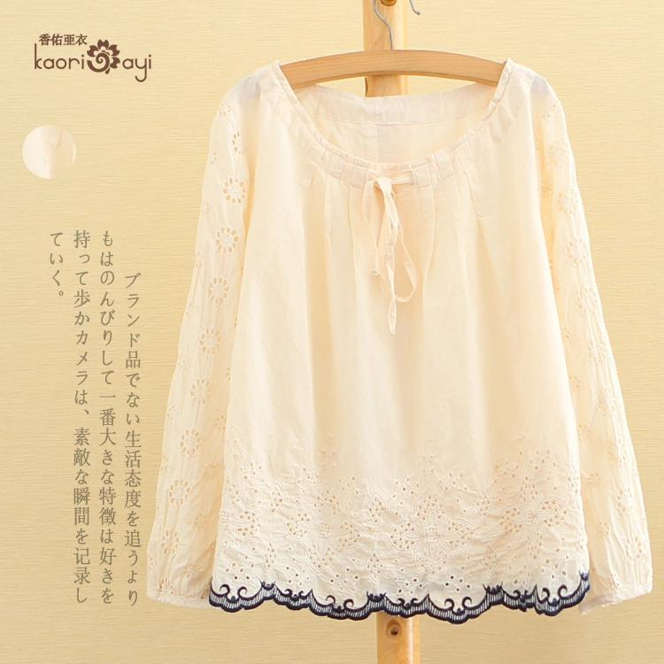 **พรีออเดอร์** เสื้อเชิ้ตทำงานคอตตอนแฟชั่นญี่ปุ่น เสื้อสีขาว แขนยาวลูกไม้ ชายเสื้อลูกไม้ / **Preorder** Women Japanese Cotton Embroidery Hitz Lace ฺBottom Long-sleeved Female Shirt