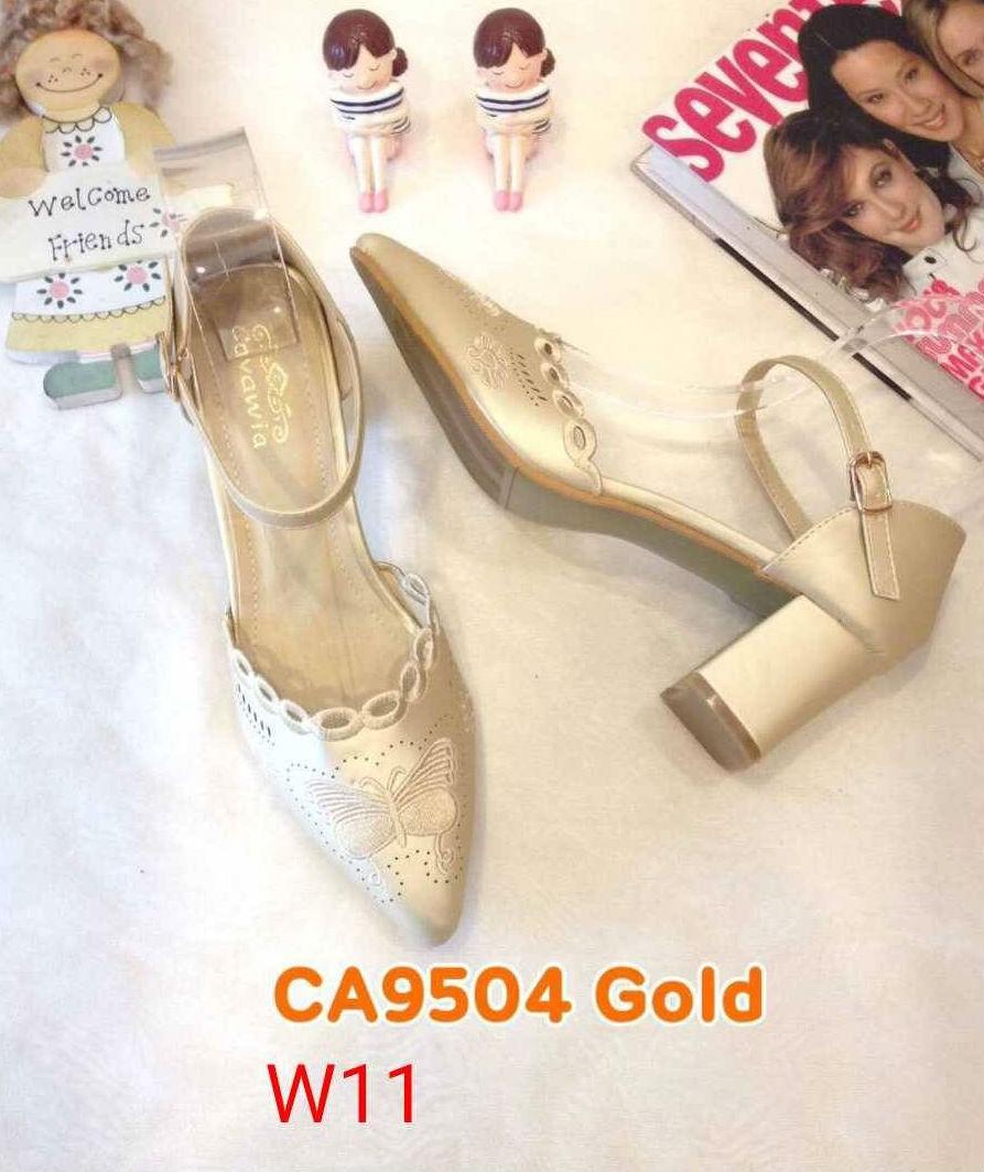 รองเท้าคัทชู รัดส้น ส้นเตี้ย แต่งลายฉลุปักผีเสื้อสวยหวาน หนังนิ่ม ทรงสวย ใส่สบาย ส้นสูงประมาณ 2.5 นิ้ว แมทสวยได้ทุกชุด (CA9504)
