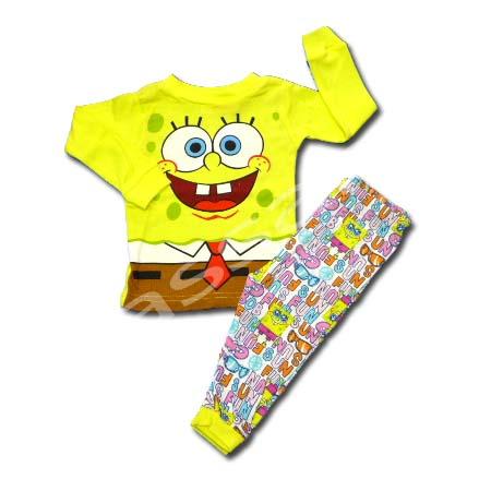 ชุดนอน สีเหลือง ลาย Spongebob ผูกเนคไท 18M